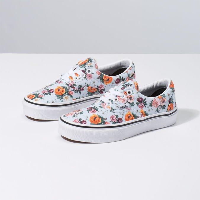 Vans Authentic Weiß Floral Kinder Sneakers Neue Kollektion